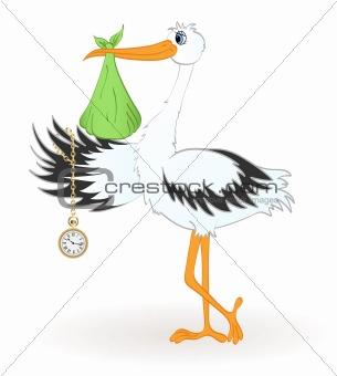 Stork with newborn baby