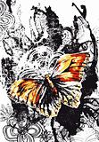 butterfly with flores background