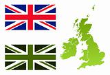 Union Jack eco flag and England map