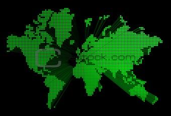 three dimensional green world map