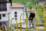 blonde boy in park
