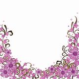 Decorative pink floral border
