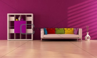 purole contemporary living room