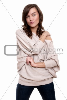 Beautiful young adult girl posing in studio