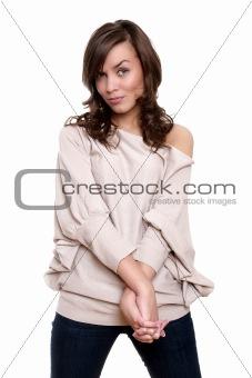 Beautiful young adult girl posing in studio
