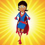 Black Super Woman Mother Cartoon with Yellow Background.