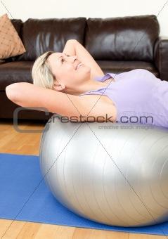 Calm woman doing exercice