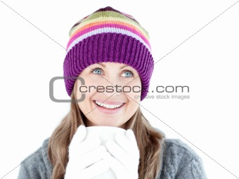Bright woman holding a cup a coffee