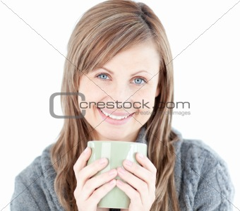 Cute woman holding a cup a coffee