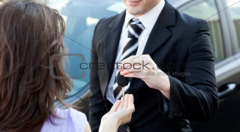 Attractive businessman meeting his colleague