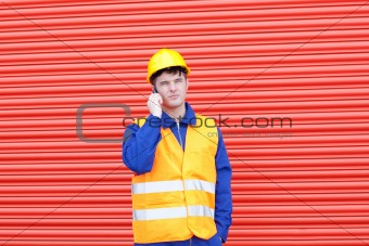 Attractive male engineer standing