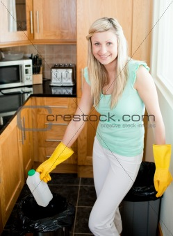 Attractive housewife cleaning
