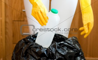Close-up of a cute housewife cleaning