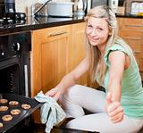Cute housewife preparing cookies