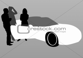 Car and people