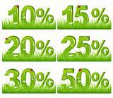 Green Discount Figures In Grass