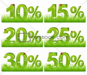 Green Discount Figures In Grass