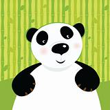 Black and white panda bear on bamboo leaf green background.