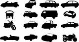 Silhouettes of cars, motorcycles and buses