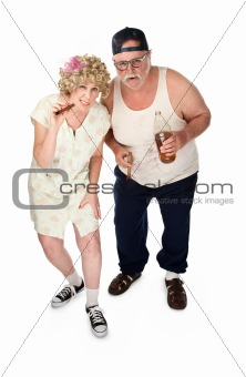 Homely couple on white background