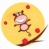Happy jumping monkey and red flowers in the air