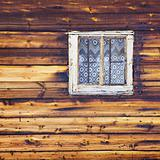 Wooden wall with square window