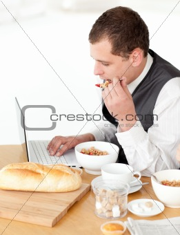 Charming businessman using a laptop while having breakfast