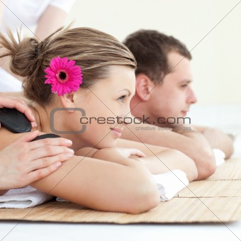 Woman getting spa treatment in a health center