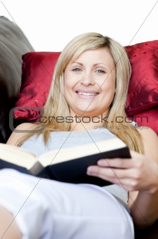 Cute woman holding a book