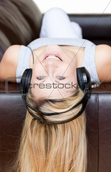 Attractive woman using headphones
