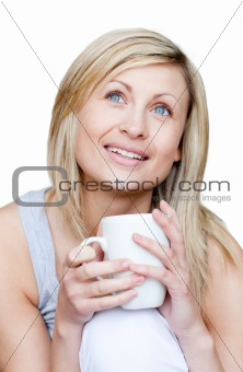 Bright woman holding a cup of coffee