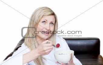 Beautiful woman having a breakfast