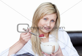 Attractive woman having a breakfast