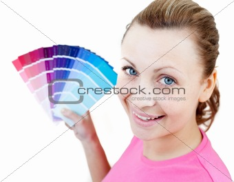 Caucasian woman choising colours