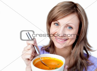 Cute woman having an healthy dinner at home