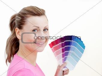 Bright woman choising colours