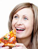BrighCheerful woman holding a pizza against a white background