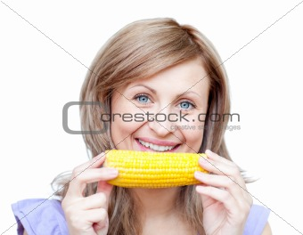 Bright woman holding a corn