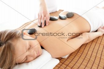 Caucasian woman having a massage