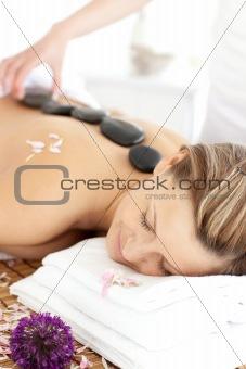 Sleeping woman having a flower