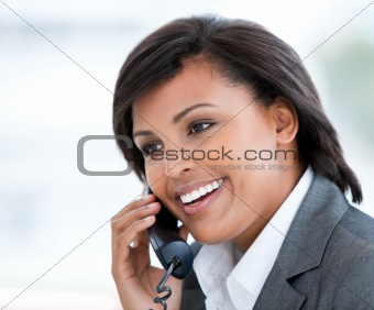 Portrait of an elegant business woman talking on phone