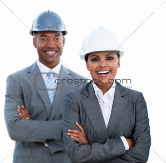Portrait of two ethnic architects with crossed arms