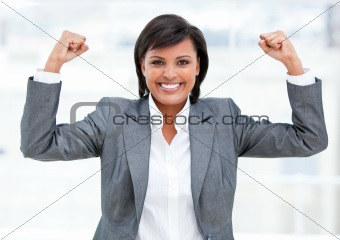 Fortunate businesswoman celebrating success