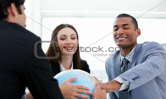 Successful business people having a meeting around a terrestrial