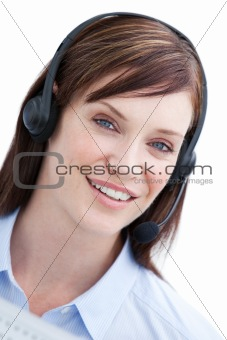 Portrait of a positive customer agent at work