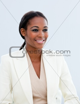 Attractive businesswoman isolated on a white background