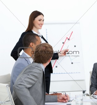 Self-assured woman doing a presentation