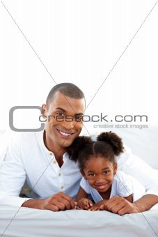 Affectionate father and his daughter having fun
