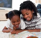 brother and daughter reading books