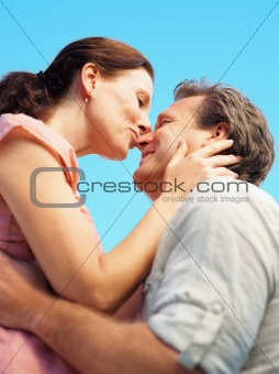 Mature couple having a romantic time together